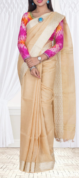 Buff Brown Linen Saree — Diwali Collection