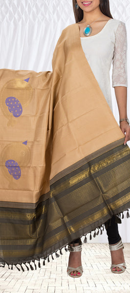 Off White & Dark Grey Pure Kanchipuram Silk Dupatta