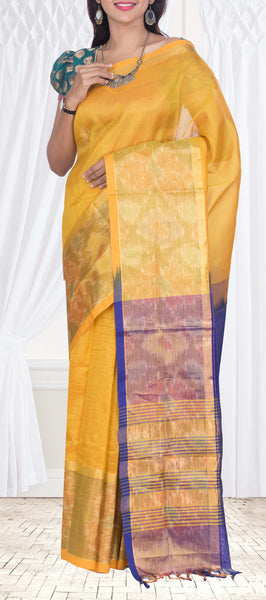 Yellow & Purple Traditional Silk Cotton Saree