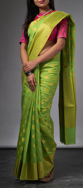 Green Semi benarasi Silk Saree