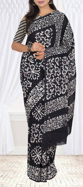 Black & White Semi Cotton Printed Casual Saree