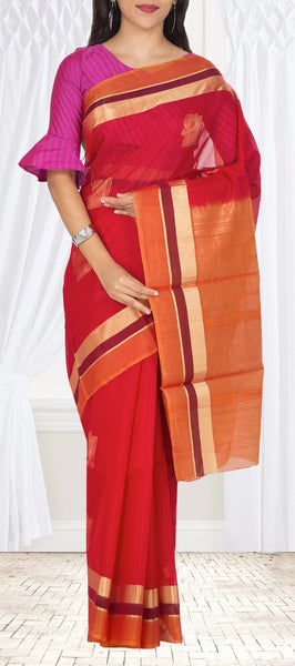 Kumkum Red Silk Cotton Saree