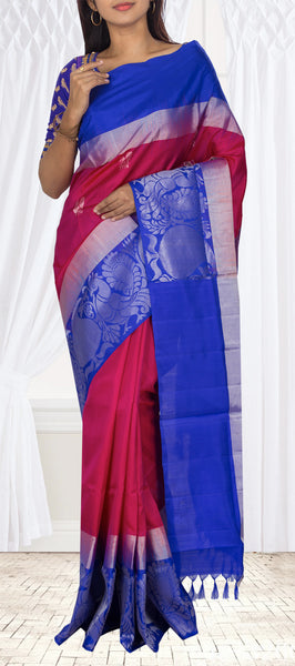 Pink & Blue Soft Silk Saree