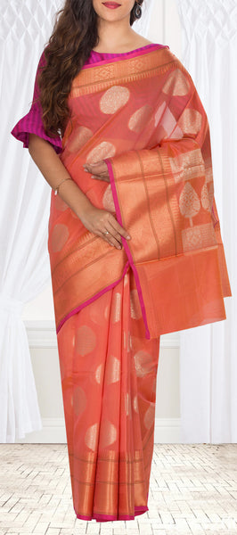 Dark Peach Organza Casual Saree