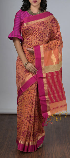 Peach Silk Cotton Saree with Kalamkari Prints