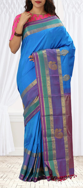 Blue Pure Kanchipuram Handloom Silk Saree With Multicoloured Border