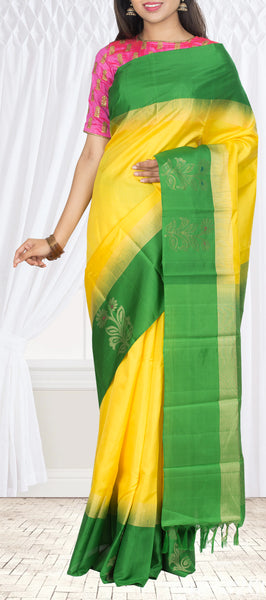 Yellow & Green Pure Soft Silk Saree