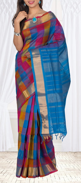 Blue, Pink & Mustard Silk Cotton Saree