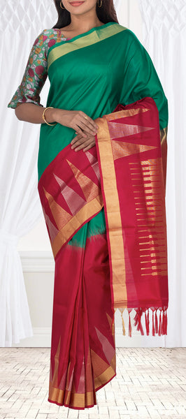 Dark Green & Red Soft Silk Saree