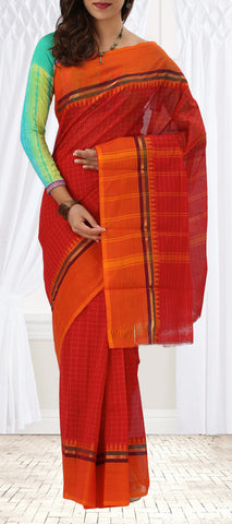 Red & Orange Summer Cotton Saree
