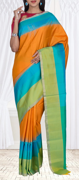 Orange, Teal Blue & Parrot Green Pure Soft Silk Saree