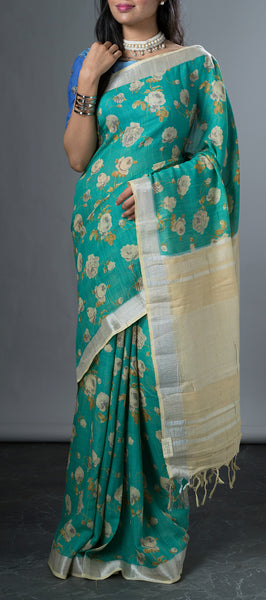Sea Green Linen Saree with Kalamkari Prints