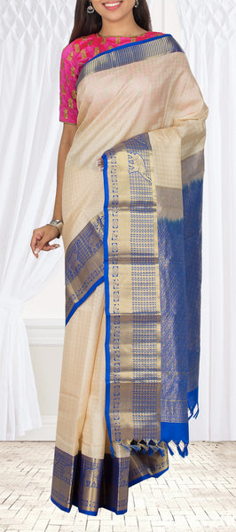 Off-White & Dark Blue Lightweight Kanchipuram Handloom Silk Saree