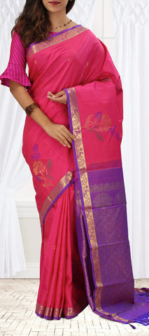 Bright Pink & Purple Soft Silk Saree