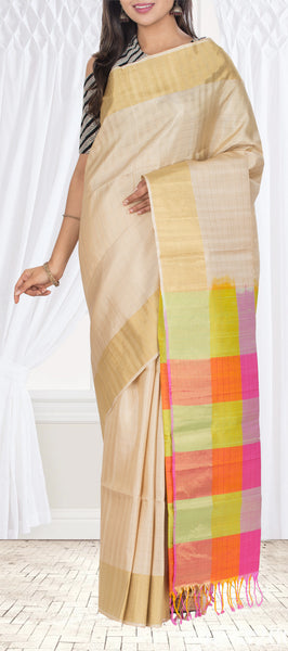 Cream Soft Silk Saree With Jute Finish