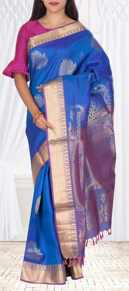 Blue & Purple Lightweight Kanchipuram Pure Silk Saree With Half-fine Zari