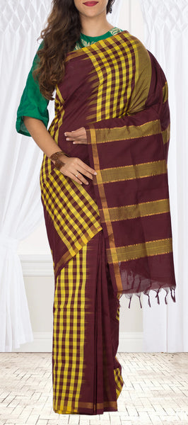 Brown & Yellow Semi Silk Cotton Saree