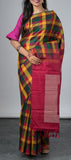 Multicolored Kanchipuram Silk Saree with Checks