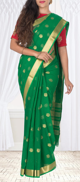 Green Semi Georgette Casual Saree
