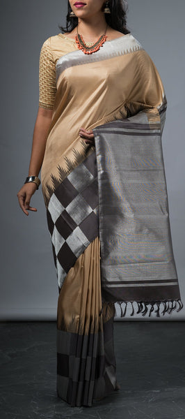 Wheat Brown Pure Kanchipuram Silk Saree