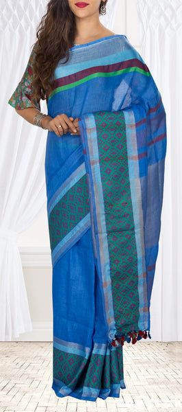 Metallic Blue Linen Silk Saree