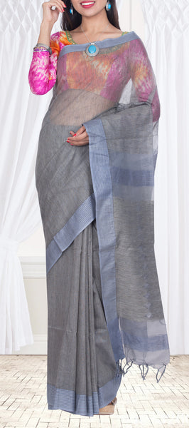 Charcoal Grey & Slate Blue Semi Jute Saree — Diwali Collection