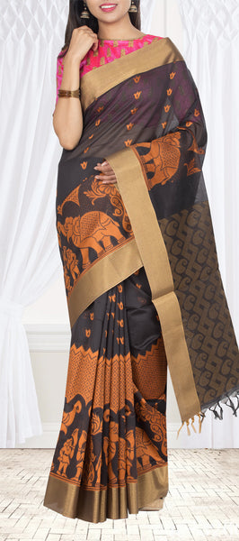 Black Semi Silk Cotton Casual Saree