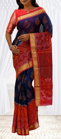 Purple & Red Silk Cotton Saree