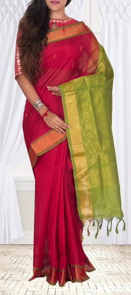 Red & Green Silk Cotton Saree