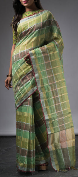 Green Semi Silk Cotton Saree with Checks