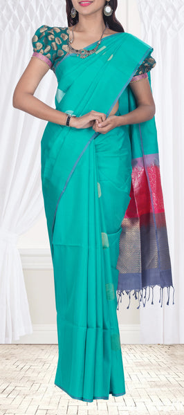 Teal Blue Silk Cotton Saree