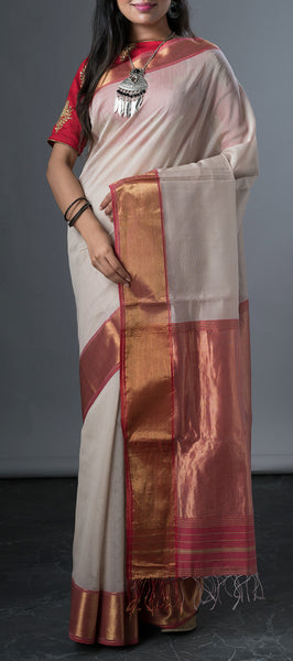 Off-white Maheshwari Silk Cotton Saree