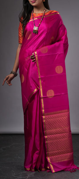 Dark pink traditional kanchipuram silk saree