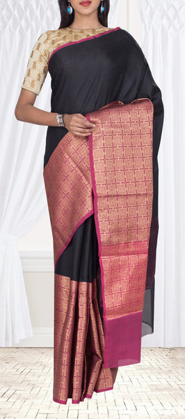 Black & Purple Organza Casual Saree