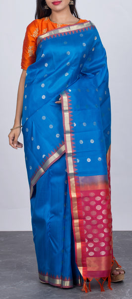 Light Blue Lightweight Kanchipuram Silk Saree