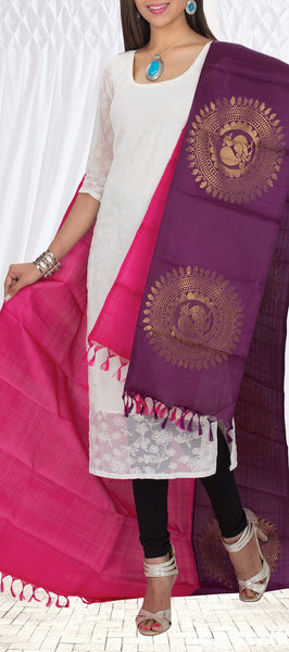 Bright Pink & Wine-Purple Pure Kanchipuram Silk Dupatta