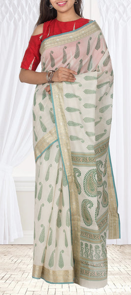 Off White Chanderi Cotton Saree