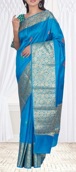 Blue Pure Tussar Silk Saree