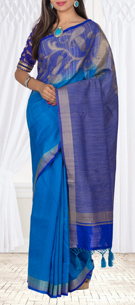 Blue Semi Jute Silk Saree