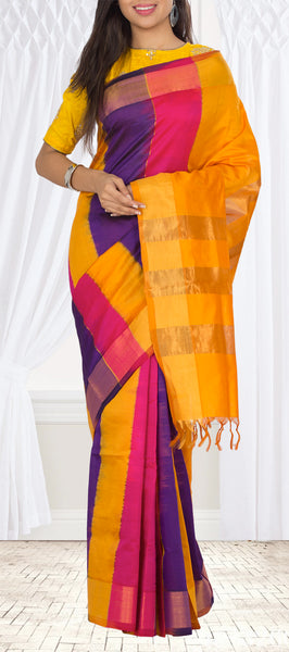 Mango Yellow, Dark Pink & Purple Semi Silk Cotton Saree