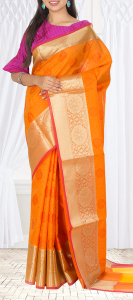 Orange Semi Silk Cotton Casual Saree