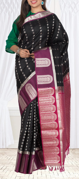 Black & Purple Lightweight Kanchipuram Silk Saree
