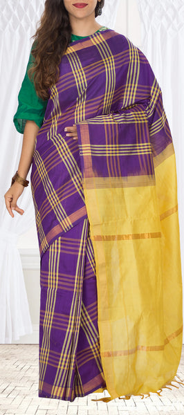 Purple & Yellow Semi Silk Cotton Saree