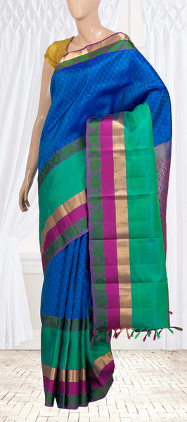 Blue Lightweight Kanchipuram Silk Saree With Half Fine Zari