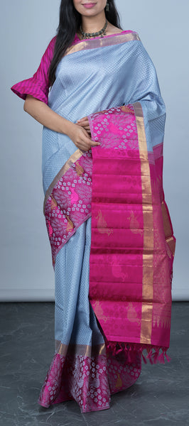 Grey Handloom Kanchipuram Silk Saree