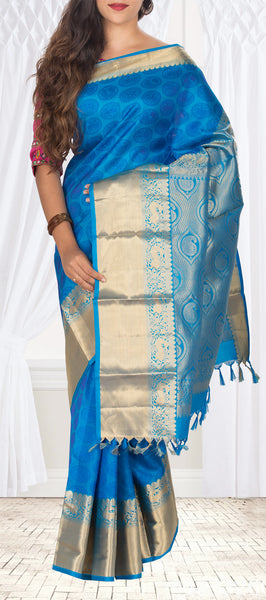 Blue Pure Soft Kanchipuram Handloom Silk Saree