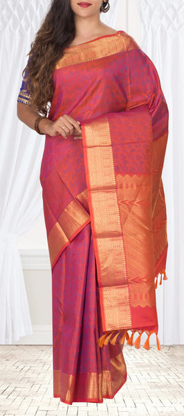 Dark Pink Lightweight Pure Kanchipuram Handloom Silk Saree