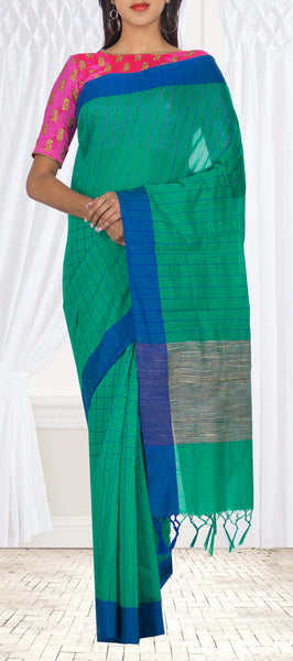 Dark Green & Blue Semi Silk Cotton Casual Saree