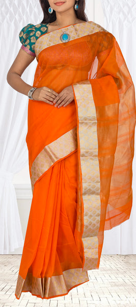 Orange Semi Tussar Casual Saree