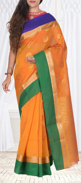 Orange, Green & Blue Semi Silk Cotton Casual Saree